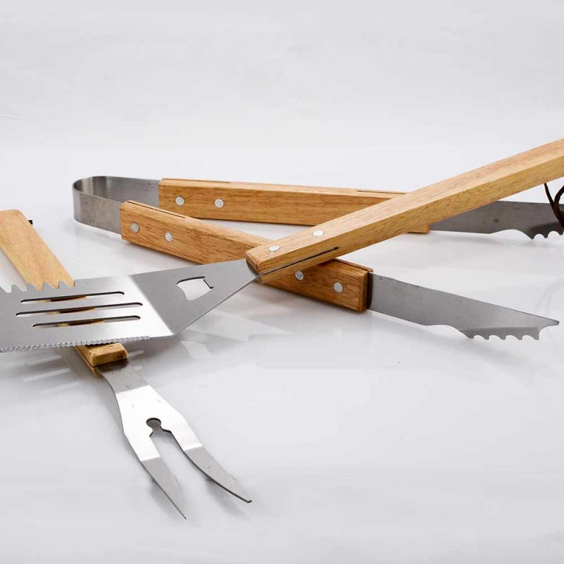 Σετ BBQ 3 τεμαχίων με ξύλινη λαβή BORMANN BBQ1003